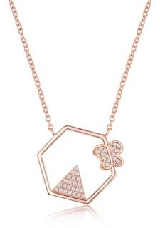 La Preciosa 925 Sterling Silver Rhodium Plated/Rose Gold Plated Cubic Zirconia Triangle and Butterfly Hexagon Shaped Necklace