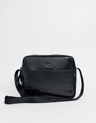 Fred Perry embossed faux leather shoulder bag in black