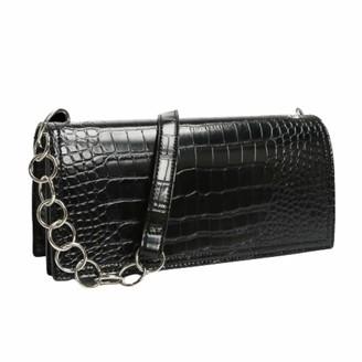 Rare Fig Stylish Designer Handbag For Women - Crocodile Texture Shoulder Bag With Chain Strap For Evening Party - Black