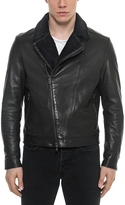 Forzieri Black Padded Leather and Shearling Men's Biker Jacket