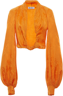 ATTICO Knotted Cropped Satin-Jacquard Blouse