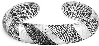 John Hardy Classic Chain Sterling Silver, Black Sapphire & Black Spinel Medium Kick Cuff Bracelet