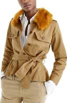 J.Crew Women's Peplum Chino Faux Fur Collar Jacket