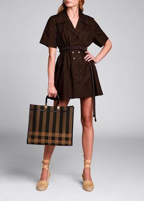 Fendi Short-Sleeve Cinched-Waist Cotton Dress