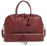 Sole Society 'Mason' Faux Leather Weekend Bag - Burgundy