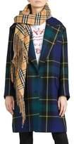 Burberry Strathyre Tartan Plaid Wool Blend Coat