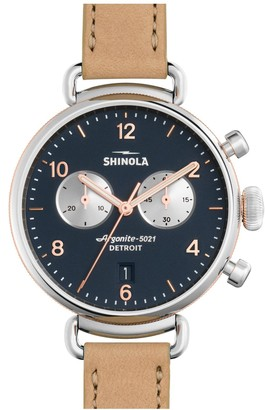 Shinola Women's Canfield Chronograph Leather Strap Watch, 38mm