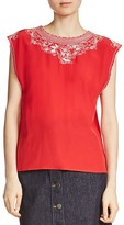 Maje London Embroidered Silk Top
