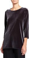 Caroline Rose 3/4-Sleeve Stretch Velvet Party Top