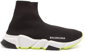 Balenciaga Speed High Top Sock Trainers - Womens - Black Yellow