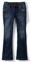 Lands' End Girls Plus Rhinestone 5-pocket Denim Boot Cut Jeans-Frosted Lavender Stripe
