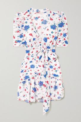 LoveShackFancy Arlo Belted Crochet-trimmed Ruffled Floral-print Cotton Mini Dress - Blue