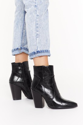 Nasty Gal Womens Patch work faux croc western boots - Black