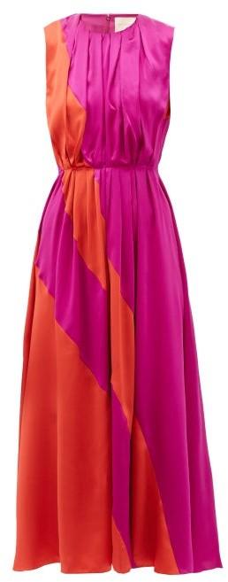 Roksanda Cora Gathered Silk-charmeuse Midi Dress - Red Multi
