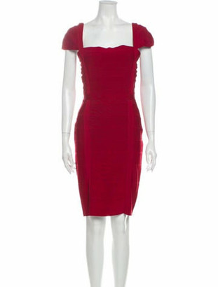 Herve Leger Square Neckline Knee-Length Dress Red