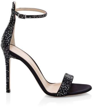 Gianvito Rossi Glam Crystal-Embellished Silk Sandals