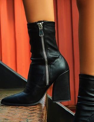 Public Desire Jamie PU Sock Fit Block Heeled Ankle Boots