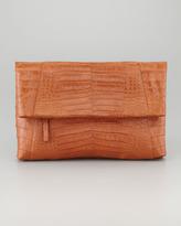 Crocodile Messenger Fold-Over Clutch Bag, Cognac