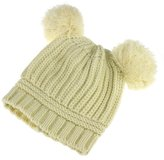 Balakie Cute Baby Knitted Cap, Infant Girl Boy Dual Balls Warm Winter Hat Beanie