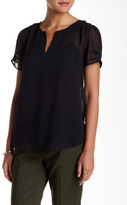 Daniel Rainn Clip Dot Split Neck Blouse