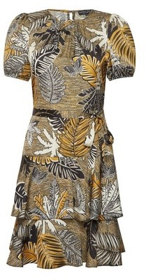 Dorothy Perkins Womens Multi Colour Tropical Print Frill Dress