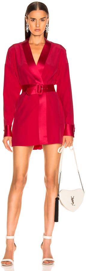 Fleur Du Mal Cufflink Mini Wrap Dress in Red Poppy | FWRD