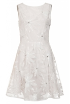 Quiz Cream And Nude Diamante Flower Detail Skater Dress