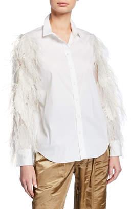 Brunello Cucinelli Ostrich Feather Long-Sleeve Poplin Shirt