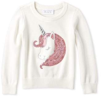 Children's Place The Long Sleeve Sequin Unicorn Knit Sweater (Baby Girls & Toddler Girls)