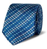 Etro 6cm Striped Woven Silk Tie - Blue