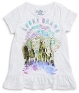 Lucky Brand Girls 7-16 Girls Glitter Elephant Peplum Tee