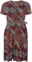 Dorothy Perkins Red And Pink Geo Wrap Dress