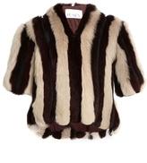 Raey Striped short shearling coat