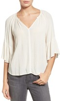 Velvet by Graham & Spencer Women's Gauze Lantern Sleeve Blouse