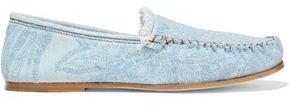 Acne Studios Jackson Frayed Embroidered Denim Loafers