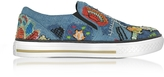 Roberto Cavalli Denim Blue Embroidery Patch Flatform Sneakers