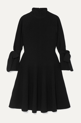 Carolina Herrera Bow-detailed Ribbed-knit Mini Dress - Black