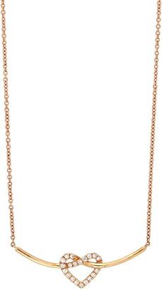 Bony Levy 18K Rose Gold Pave Heart Diamond Heart & Curved Bar Pendant Necklace