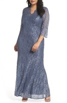 Alex Evenings Plus Size Women's Lace Fit & Flare Gown