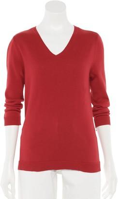 Croft & Barrow Women's Jersey V-Neck Sweater