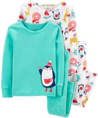 Carter's Toddler Girl 4-Piece Penguin Snug Fit Cotton PJs