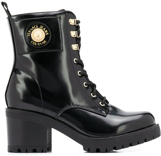 Versace Lace-Up Block Heel Boots