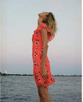 Express Neon Floral Print Asymmetrical Ruffle Dress