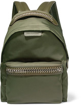 Stella McCartney The Falabella Faux Leather-trimmed Shell Backpack - Army green