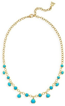 Temple St. Clair CL 18K Yellow Gold, Turquoise & Diamond Theo Half Bib Necklace