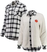 Unbranded Women's White/Cream Clemson Tigers Reversible Sherpa Flannel Long Sleeve Button-Up Shirt