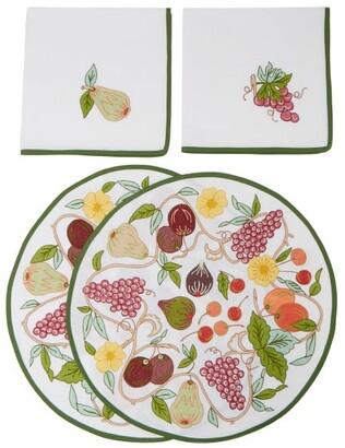 Loretta Caponi - Set Of Two Embroidered Placemats & Napkins - Multi