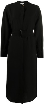 Vince Belted Long Sleeve Midi Shirt Dress