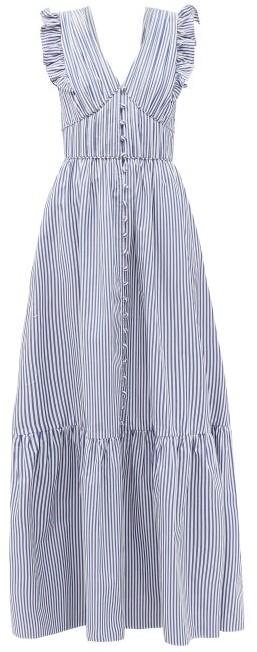 Thumbnail for your product : Self-Portrait Ruffled V-neck Striped Cotton-poplin Maxi Dress - Blue White
