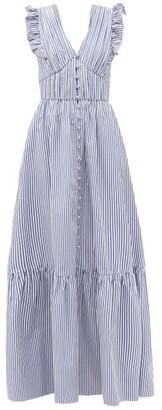 Self-Portrait Ruffled V-neck Striped Cotton-poplin Maxi Dress - Blue White